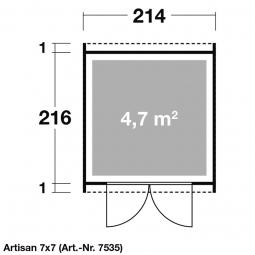 Keter 17203426 ARTISAN 7x7 Gartenhaus mit Pultdach Rauminhalt: ca. 8,27 m³