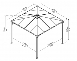 Palram 702425 Aluminium Gazebo Pavillon Palermo 3000 295x295 cm