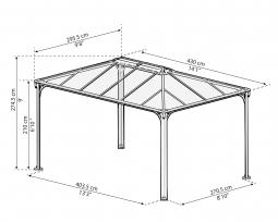 Palram 702564 Aluminium Gazebo Pavillon Martinique 4300, 430x295 cm