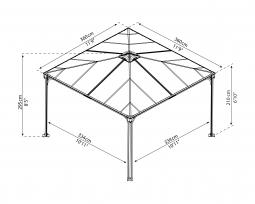 Palram 702780 Aluminium Gazebo Pavillon Palermo 3600 360x360 cm