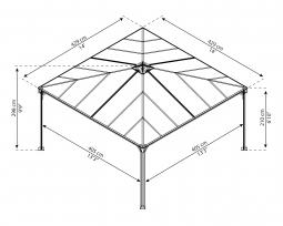 Palram 704044 Aluminium Gazebo Pavillon Palermo 4300 429x429 cm