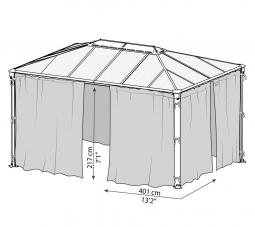 Palram 704371 Moskitonetz für Aluminium Gazebo Pavillon Martinique 4300