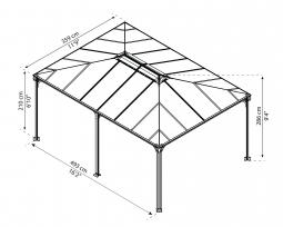 Palram 704672 Aluminium Gazebo Pavillon Martinique 5000, 492x359 cm