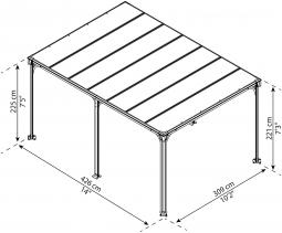 Palram 704673 Aluminium Gazebo Pavillon Milano 4300, 436x316 cm