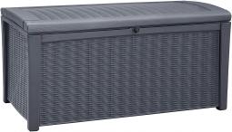 Keter 17198682 Borneo Box 110G/416L Auflagenbox, Rattan-/Holzoptik anthrazit/graphit
