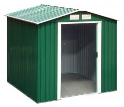 Metallgerätehaus 6x6 mit Satteldach grün