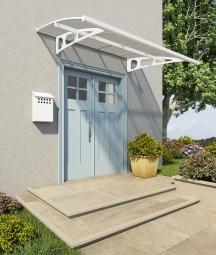 Palram 703400 Aluminium Vordach 2,2x1,4 m Bordeaux 2230 klar weiß inkl. Regenrinne Überdachung Unterstand Haustür