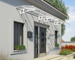 Palram 703841 Aluminium Vordach 4,5x1,4 m Bordeaux 4460 klar weiß inkl. Regenrinne Überdachung Unterstand Haustür