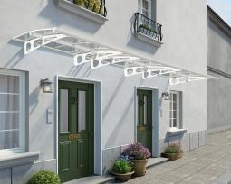 Palram 703842 Aluminium Vordach 6,7x1,4 m Bordeaux 6690 klar weiß inkl. Regenrinne Überdachung Unterstand Haustür