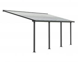 Palram 704351 Aluminium Terrassenüberdachung 3 x 6,10 m Olympia grau Terrassendach Überdachung Vordach Unterstand