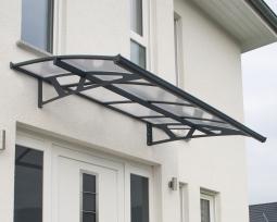 Palram 705458 Aluminium Vordach 2,3x1,4 m Amstadam 2230 grau Überdachung Unterstand Glasvordach
