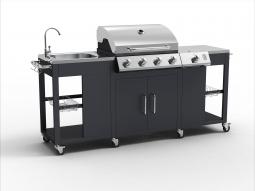 Tepro 3193 Gasgrill-Küche Outdoorküche Petersburg mit Waschbecken und Seitenkocher, 4 + 1 Brenner